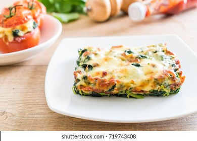 baked spinach with cheese - Italian food style