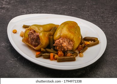 Baked stuffed bell pepper with meat and rice