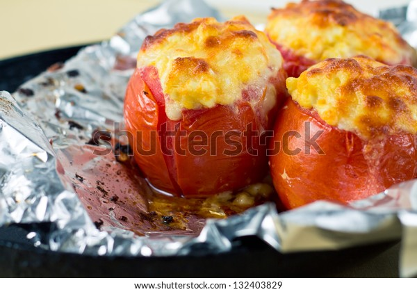 Baked stuffed tomatoes with cheese