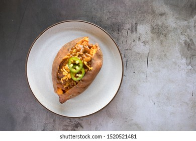 Baked Sweet Potato With Chili and Cheese