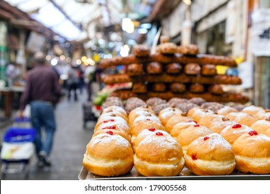 Baked sweets at Mahane Yehuda, famous market in Jerusalem