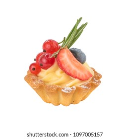 Baked tart, whipped cream, fresh berries and powdered sugar isolated on white background