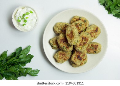 Baked Tater Tots on a White Background. Top View
