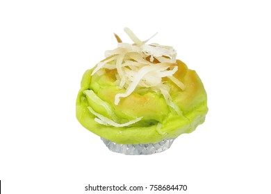 Baked thai Coconut Bread bake isolated on white background, clipping path included.