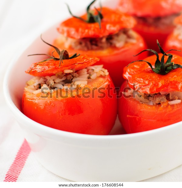 Baked Tomatoes Stuffed with Rice and Beef Mince, square, copy space for your text