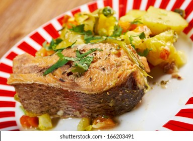 Baked trout with potatoes .farmhouse kitchen