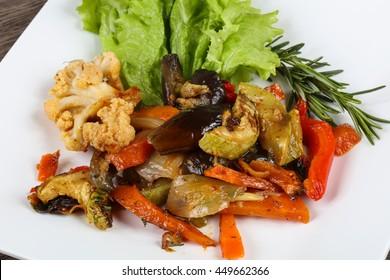 Baked vegetables - eggplant, tomato, pepper, caulliflower