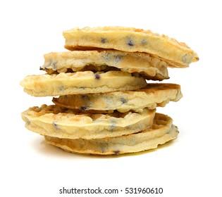 Baked waffles on white background