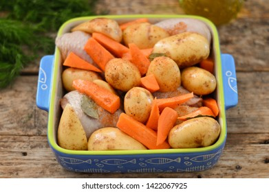 Baked young potatoes in a baking dish