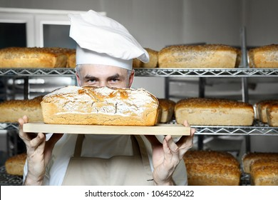 Baker in the bakery. Tasty fresh bread straight from the oven.