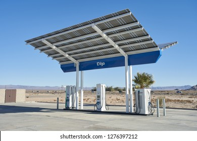 Baker, California - Jan 1, 2019: An EVgo charging station on I-15, which connects Los Angeles and Las Vegas.