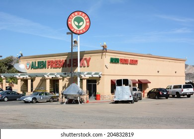 BAKER, CALIFORNIA - July 12, 2014: The Alien Fresh Jerky Store, a tourist attraction just off the I 15 Highway, the main road to Las Vegas, Nevada.