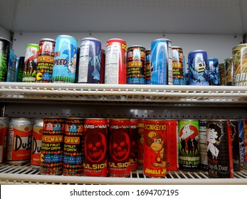 Baker, California -  July 31, 2011: Video Game Energy Drinks For Sale including Gears of War, Donkey Kong, Ghostbuster, Pac-Man, aSonic, Mega Man, Betty Boop inside Alien Fresh Jerky store.