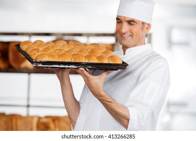 Baker Carrying Fresh Breads In Tray