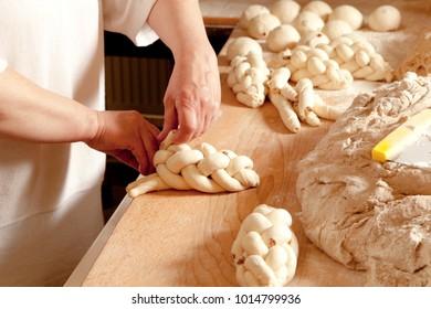 Baker Making Traditional Czech Chrismas Pastry Vanocka