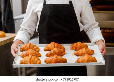 Baker presenting freshly baked croissants. Classic Viennoiserie made of puff pastry looking yummy. French bakery concept.