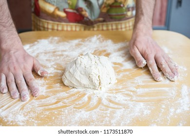 Baker rolling dough with flour bread, pizza or pie recipe ingredients with hands, food on kitchen table background, working with milk, yeast, flour, eggs, sugar pastry or bakery cooking, set