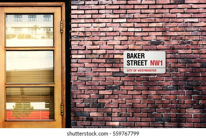 Baker street sign. The world's most famous street of Baker in London, England.
