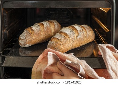 Baker's hands with kitchen towel next to metal tray with bread in the oven