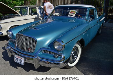 BAKERSFIELD, CA - APRIL 14, 2018: This 1961 Studebaker Hawk on display  today at the 6th annual Friends of Seniors Day Car Show was the company's version of a sporty car.