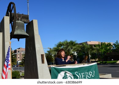 BAKERSFIELD, CA - APRIL 29, 2017: Wendy Reed, a recent candidate for 23rd District Congressional Representative, addresses  crowd during the local version of the People's Climate March.