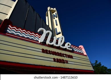 BAKERSFIELD, CA - AUGUST 24, 2019: An old unused movie theater has now been transformed into a church for a religious group.