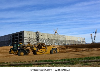 BAKERSFIELD, CA -  JANUARY 16, 2019: Construction of Amazon's fulfillment center is well underway with concrete tiltup exterior walls Many area jobs will be created when the warehouse is finished.