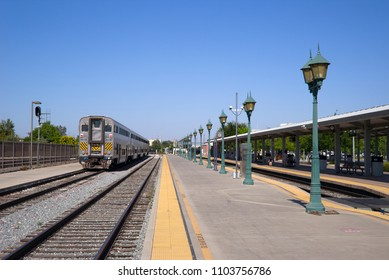 BAKERSFIELD, CA - JUNE 2, 2018: This Amtrak California Train originates in Bakersfield and is ready to head north out of the station on the San Joaquin Route.