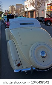 BAKERSFIELD, CA - MARCH 16, 2019: Richard Day brings his 1936 Ford roadster to the 3rd Annual Streets of Bakersfield Cruizin' Shine car show.
