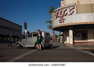 BAKERSFIELD, CA - MARCH 16, 2019: Participants in today's 3rd Annual Streets of Bakersfield Cruizin' Shine car show could get their picture taken in front of the historic Fox Theater.