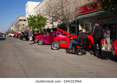 BAKERSFIELD, CA - MARCH 16, 2019: Over 350 custom and vintage autos are polished by owners today to participate in the 3rd Annual Streets of Bakersfield Cruizin' Shine car show.