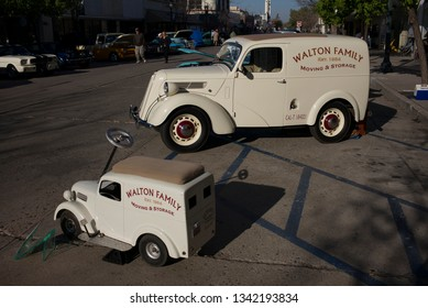 BAKERSFIELD, CA - MARCH 16, 2019: A toy truck and the real thing both appear at the 3rd Annual Streets of Bakersfield Cruizin' Shine car show.