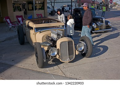 BAKERSFIELD, CA - MARCH 16, 2019: Over 350 custom and vintage autos appear downtown today to participate in the 3rd Annual Streets of Bakersfield Cruizin' Shine car show.