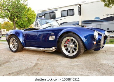 BAKERSFIELD, CA - MARCH 31, 2018: The Cofffee and Cars show is visited by this well-preserved A-C Cobra, a desirable sports car of the 1960s.