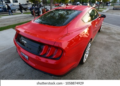 BAKERSFIELD, CA - MARCH 31, 2018: A new Ford Mustang GT 5 liter V8, boasting a line of cars in production since 1967, is on display at the Cofffee and Cars show.