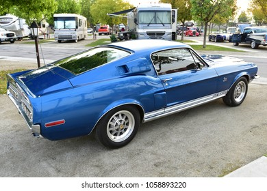 BAKERSFIELD, CA - MARCH 31, 2018: A Ford Mustang GT500, specially modified by Carroll Shelby, is on display at the Cofffee and Cars show.