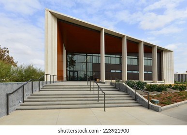 BAKERSFIELD, CA - OCTOBER 15, 2014: This example of modern architecture is a recent addition to the city. The United States Court House also includes the General Services Administration offices.