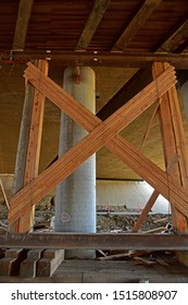 BAKERSFIELD, CA - SEPTEMBER 21, 2019: Wood and steel are used as temporary support structures for the Westside Parkway Project now nearing completion.