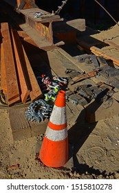 BAKERSFIELD, CA - SEPTEMBER 21, 2019: A traffic cone, shackles and other hardware are stored for use in the construction of the Westside Parkway Project.