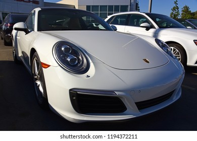 BAKERSFIELD, CA - SEPTEMBER 30, 2018: A used late model Porsche 911 is looking brand new as it awaits a buyer at this Central California car lot.