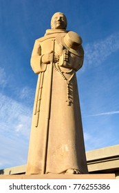 Bakersfield, California, United States of America - November 26, 2017. Large statue of Father Francisco Garces standing guard over Garces Circle in Bakersfield.