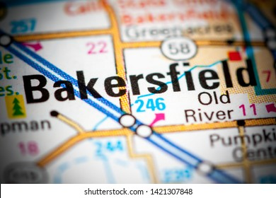 Bakersfield. California. USA on a map