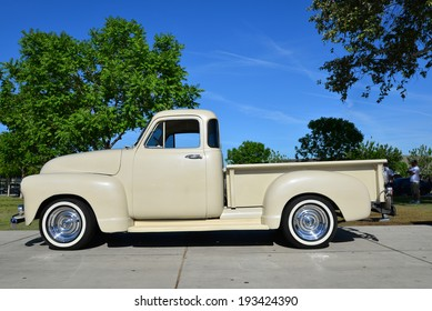 BAKERSFIELD, CA-MAY 17, 2014: A 1953 Chevrolet five window pickup truck has been given new life and is on display at the South High School Car Show.