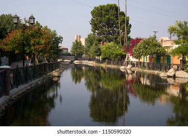 BAKERSFIELD,CA - AUGUST 4, 2018: Mill Creek is a linear park augmenting the Kern Island irrigation canal with a beautiful transformation for the downtown area.