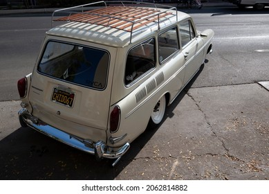 BAKERSFIELD,CA - OCTOBER 9, 2021:A rarity these days, a 1967 Volkswagen station wagon is being exhibited today downtown at the Cruisin 4 Charity car show.