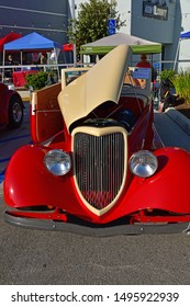 BAKERSFIELD,CA - SEPTEMBER 1, 2019: A beautifully modified 1934 Ford cabriolet is displaying its custom workmanship today at the Hot Rods, Burgers & Beers event.