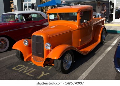 BAKERSFIELD,CA - SEPTEMBER 1, 2019: A beautifully restored and customized 1933 Ford pickup truck is displaying its custom workmanship today at the Hot Rods, Burgers & Beers event.