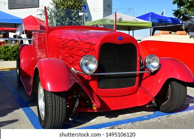 BAKERSFIELD,CA - SEPTEMBER 1, 2019: The quintessential ford based hot rod is appearing today at the Hot Rods, Burgers & Beers event, looking good in red bright red paint.
