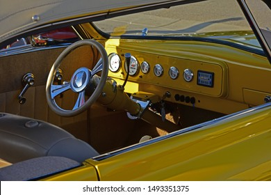 BAKERSFIELD,CA - SEPTEMBER 1, 2019: Today, a gathering of car buffs participate in the   Hot Rods, Burgers & Beers event. Shown here, is a rare 1948 Studebaker's dashboard.