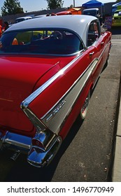 BAKERSFIELD,CA - SEPTEMBER 1, 2019: Today's Hot Rods, Burgers & Beers event, draws this beautifully restored 1957 Chevrolet four door in the hard top convertible style.